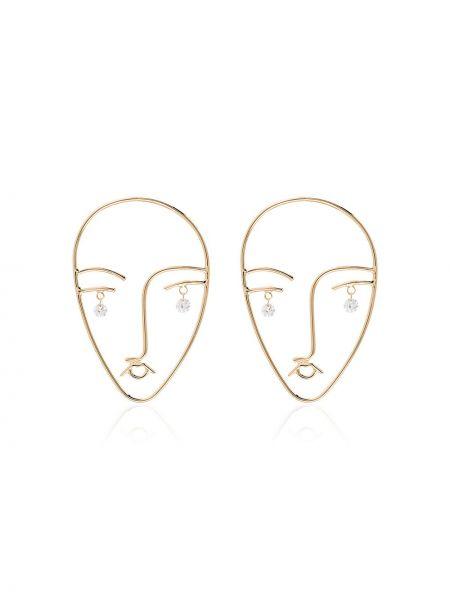 Żółte złote kolczyki sztyfty z diamentem Persée