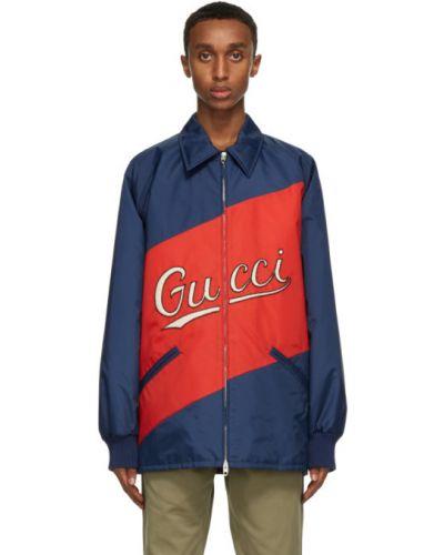 Czarna długa kurtka pikowana z nylonu Gucci