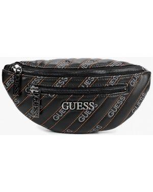 Кожаная сумка поясная черная Guess