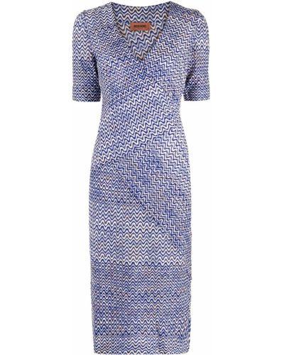 Шелковое синее платье миди с короткими рукавами Missoni
