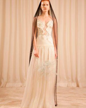 Biała satynowa sukienka bez rękawów Sandra Mansour