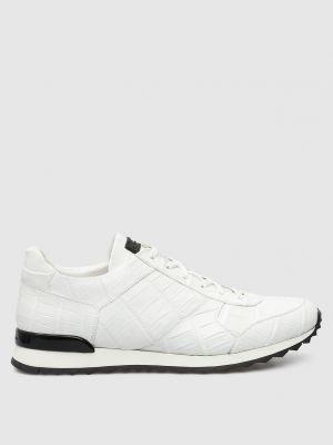 Кожаные кроссовки - белые Kiton