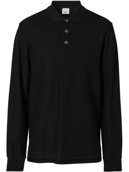 Bawełna czarny koszula z kołnierzem z długimi rękawami Burberry