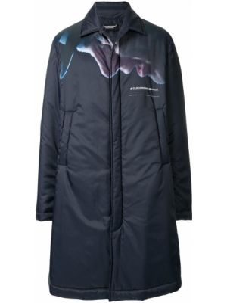 Niebieski płaszcz z printem Undercover