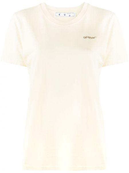 Codziennie biały bawełna koszula z krótkim rękawem okrągły dekolt Off-white