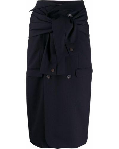 Расклешенная синяя юбка миди в рубчик Frenken
