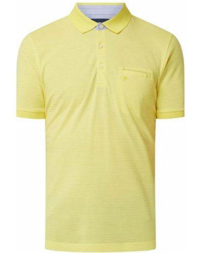 Żółty t-shirt bawełniany w paski Pierre Cardin