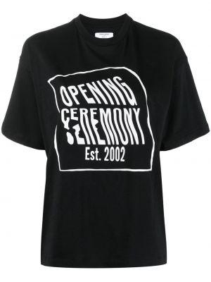 Хлопковая черная футболка с надписью Opening Ceremony