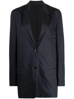 Шелковый синий удлиненный пиджак оверсайз Lemaire