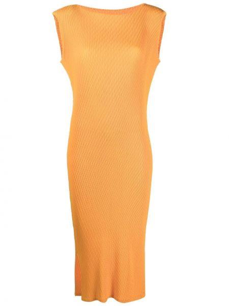 Pomarańczowa sukienka midi bez rękawów Issey Miyake