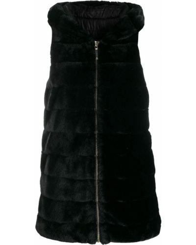 Черная жилетка из искусственного меха с капюшоном Blugirl