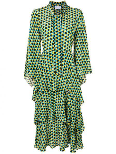 Niebieska sukienka długa rozkloszowana z jedwabiu Osman