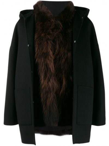Шерстяное черное длинное пальто S.w.o.r.d 6.6.44