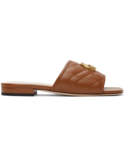 Beżowe złote sandały pikowane Gucci
