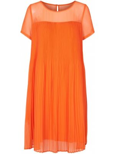 Оранжевое плиссированное платье миди с короткими рукавами круглое NÜmph