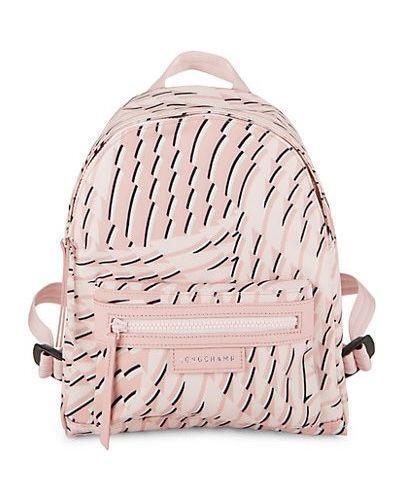 Różowy plecak skórzany z printem Longchamp
