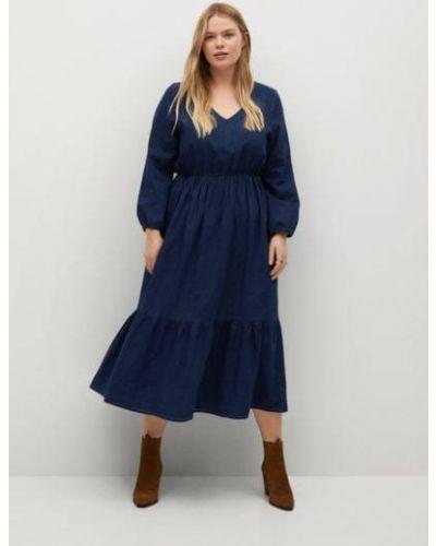 С рукавами трикотажное синее платье миди Mango