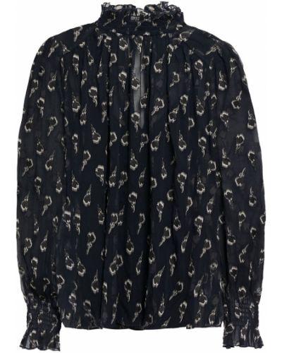 Облегченная синяя шелковая блузка Ba&sh
