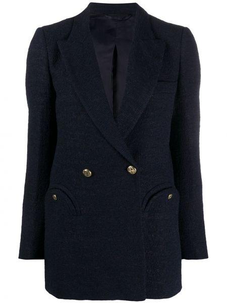 Синий пиджак на пуговицах двубортный с подкладкой Blazé Milano