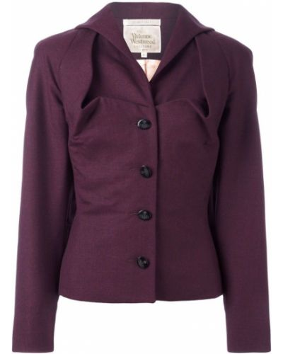 Фиолетовый удлиненный пиджак на пуговицах винтажный Vivienne Westwood Pre-owned