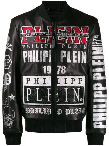 Czarna długa kurtka skórzana z długimi rękawami Philipp Plein
