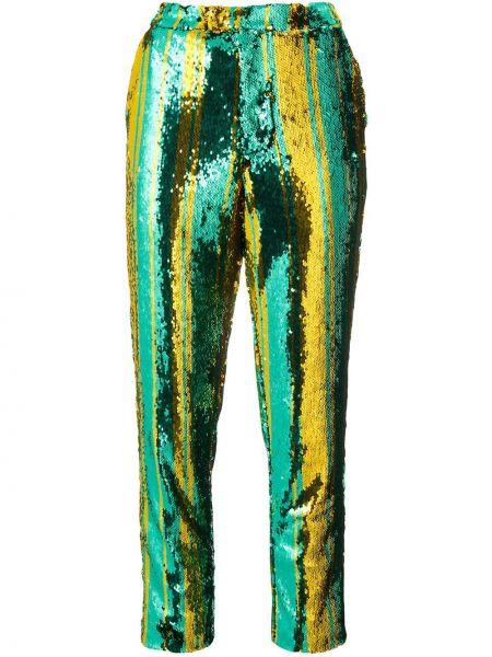 Złote zielone spodnie z haftem Halpern