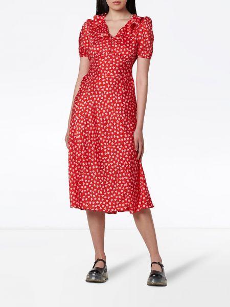 С рукавами красное платье миди с воротником Marc Jacobs