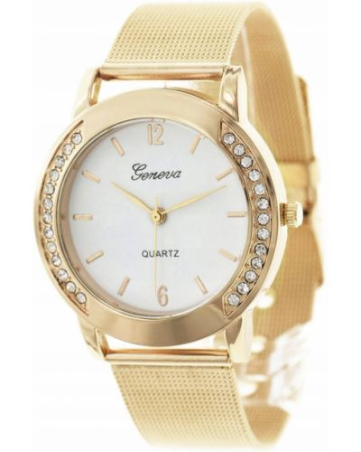 Biały klasyczny złoty zegarek Geneva