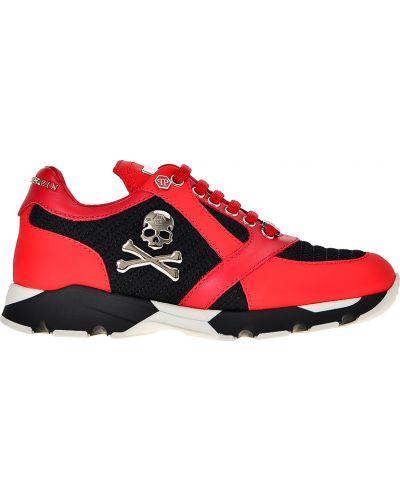 Красные кожаные кроссовки Philipp Plein