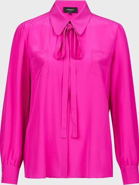 Розовая шелковая блузка на пуговицах Rochas