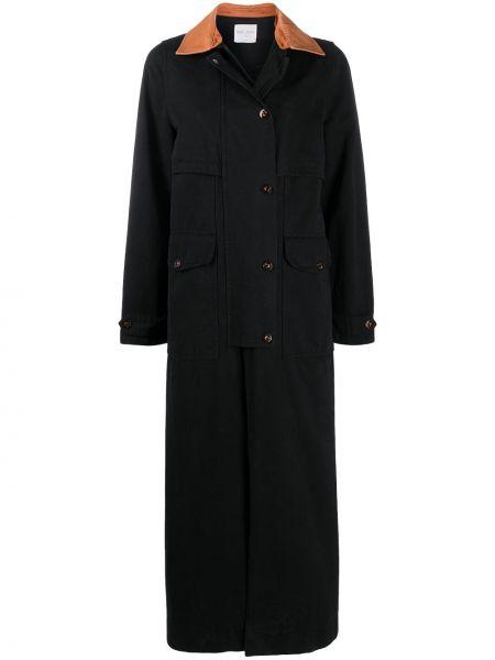 Черное кожаное пальто классическое с воротником Forte Forte