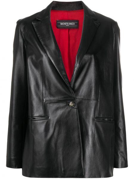 Черный кожаный удлиненный пиджак с карманами Simonetta Ravizza