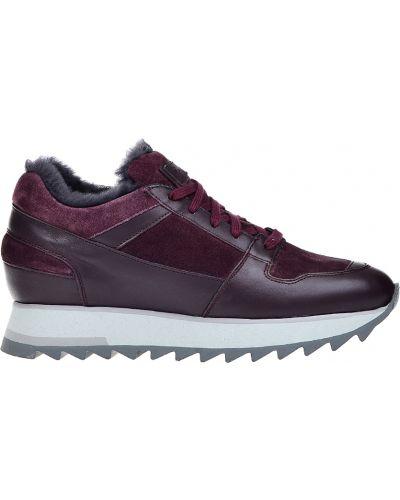Кожаные кроссовки - бордовые Santoni