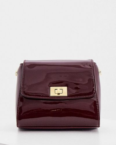 Красная кожаная лаковая сумка через плечо Cerruti 1881
