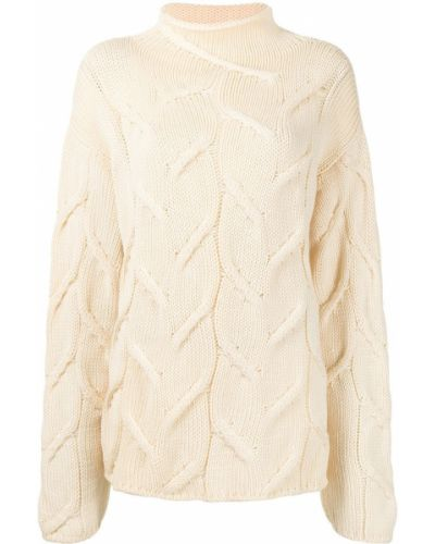 Z rękawami prosto wełniany sweter z okrągłym dekoltem Chanel Pre-owned