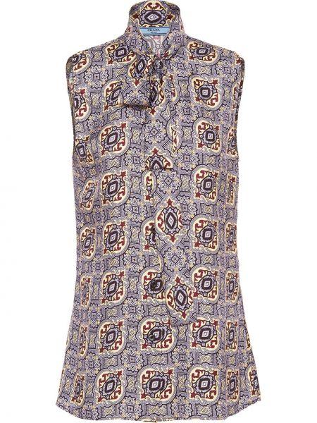 Фиолетовая прямая блузка без рукавов с воротником с бантом Prada