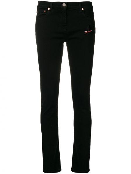 Кожаные черные джинсы с вышивкой с карманами Valentino