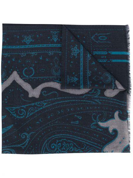 Niebieski szalik wełniany z printem Etro