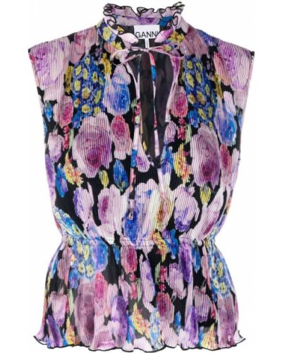 Bluzka w kwiaty - różowa Ganni