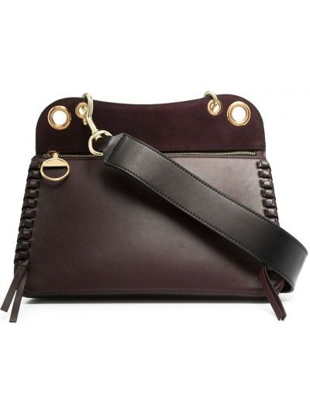 Фиолетовая с ремешком кожаная сумка-тоут See By Chloé