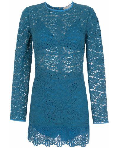 Синее кружевное платье мини НК