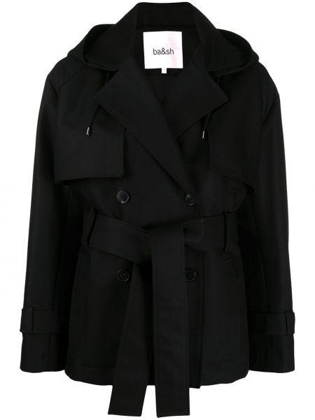 С рукавами черная куртка с капюшоном двубортная из вискозы Ba&sh