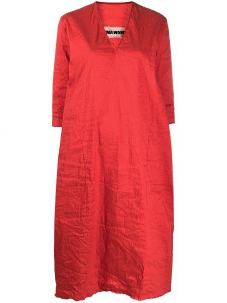 С рукавами красное платье миди с вырезом Uma Wang