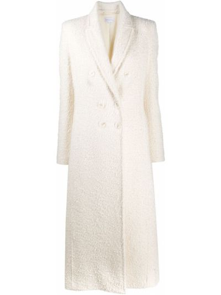 Белое приталенное шерстяное пальто классическое на пуговицах Patrizia Pepe