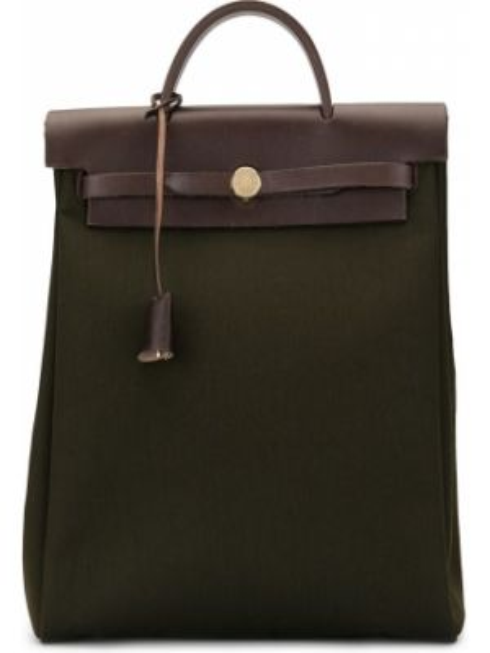 Skórzana torebka z płótna z uchwytem Hermès Pre-owned