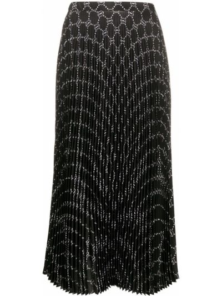 Черная прямая с завышенной талией плиссированная юбка Markus Lupfer