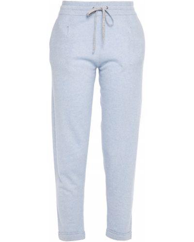 Льняные синие укороченные брюки с карманами Duffy