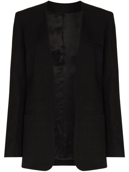 Открытый черный удлиненный пиджак с карманами Toteme