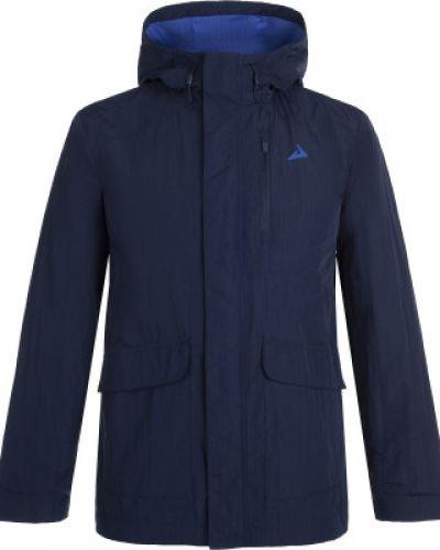 Синяя нейлоновая куртка с капюшоном на молнии свободного кроя Demix