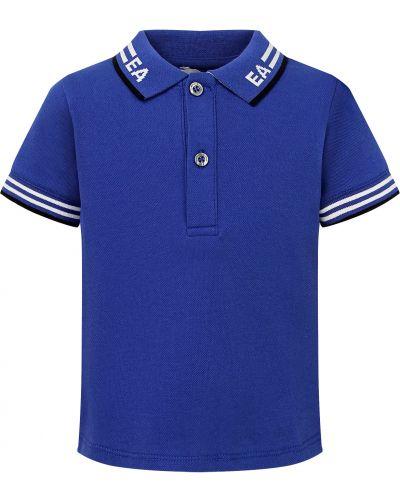 Синий хлопковый поло Armani Junior